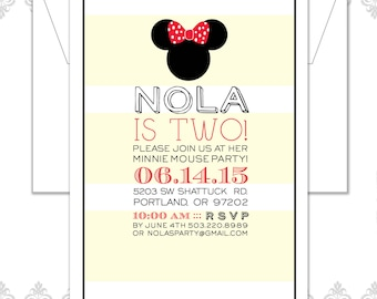 Minnie Mouse Birthday Invitation, Minnie Mouse Modern Party, Mickey Mouse Invite, Minnie Mouse Bow, Minnie Mouse Silhouette, Striped