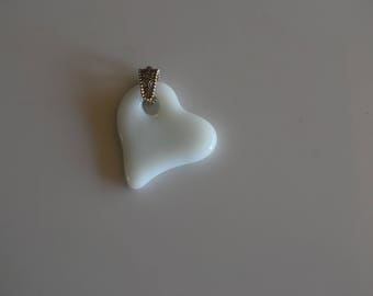 White Fused Glass Heart On An Adjustable Silver Mesh Chain