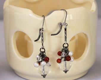 Clear Glass Rhondelle, Carnelian, Crystal and Pearl Gunmetal Dangling Earrings, Clear Dangling Earrings, Cluster Earrings, Dressy Earrings
