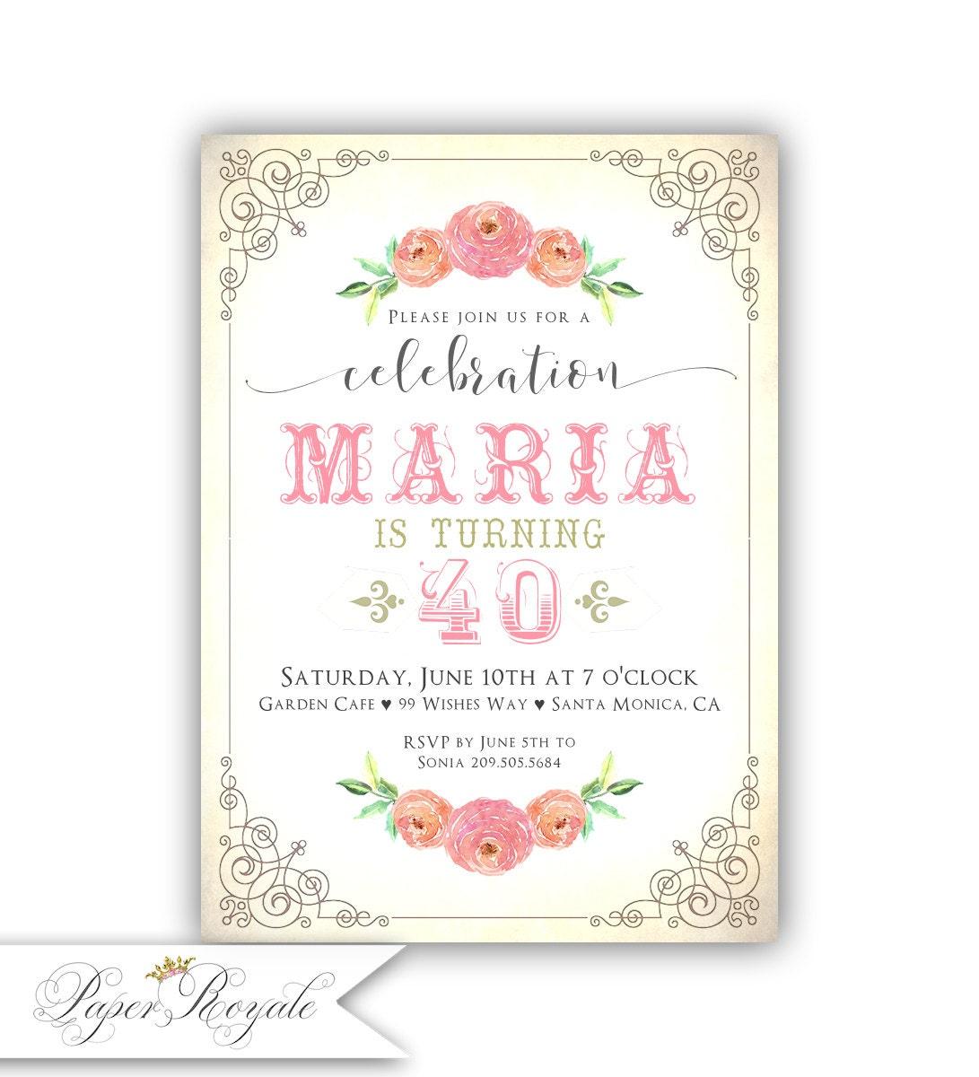 Invitaciones cumplea os adulto 40 cumplea os partido invita - Tarjetas de cumpleanos para adultos ...