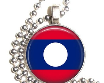 Lao People's Democratic Republic Flag Art Pendant, Earrings and Keychain, Round Photo Silver and Resin Charm Jewelry, Earrings and Key Fob