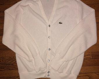 Vintage Lacoste Cardigan Large White