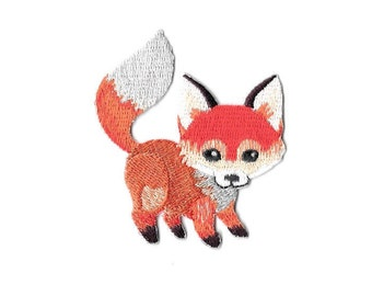Fox Cub - Large Tailed - Wild Animal - Forrest - Embroidered Iron On Patch
