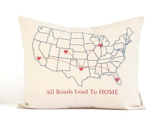 All Roads Lead To HOME, Gift for Mom, Custom Map Gift for Parents, Mothers Day, Personalized Pillows, Home Decor, Custom Throw Pillows