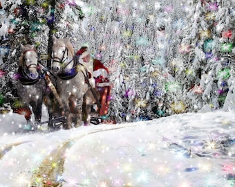 Christmas backdrop Santa Claus White horse Digital background Photoshop overlay Fairy light Magic forest Winter tree Color snowflake print
