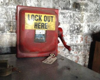 Vintage Industrial steampunk Red 'LOCK OUT HERE'  Safety Switch with great Petina 4 mancave or restaraunt as display or conversational piece