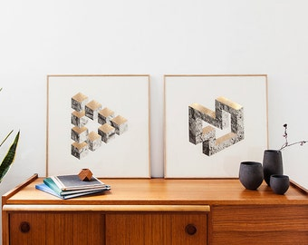 2 prints two-dimensional shapes. B&W rocks and lichens finish  texture gold stamping