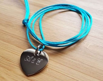 Bracelet Necklace heart 20 mm steel cord of choice with or without engraving