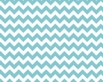 Riley Blake - Small Aqua & White Chevron - 1/2 yard fabric - by Boutique Mia