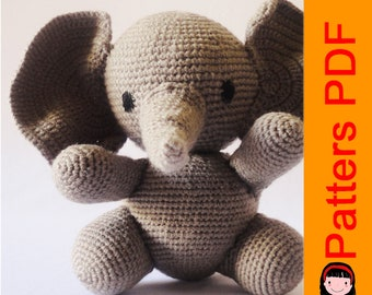 CROCHET PATTERN ELEPHANT /crochet doll / toy knitting / crochet patterns / toys elephant / amigurumi / pattern