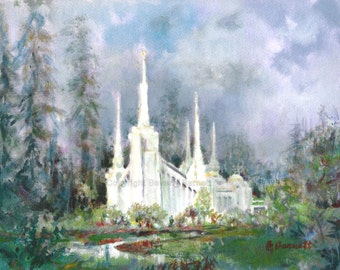 Portland LDS Temple ---- Top-Quality 18 x 24 Print of an Original Acrylic Painting