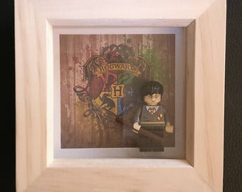Lego inspired Harry Potter, Hermione Granger, Ron Weasely minifigure framed art