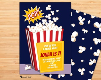 Pop On Over Birthday Party Invitation - birthday party, invitation, movies, popcorn, treats, pop, splash, delicious, cinema