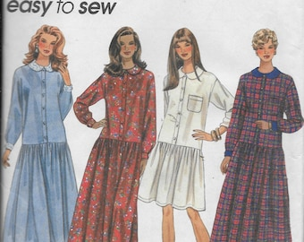 Vintage Pattern Women's Loose Fitting Dress, Button Down Front Dropped Waist  UNCUT -Simplicity 9200 Easy to Sew  Dated 1994 Size P 12 14 16