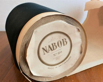 7 Yards Wide Antique Ribbon Black Silk Ribbon / Nabob no. 80 made in Switzerland  5 inch Wide
