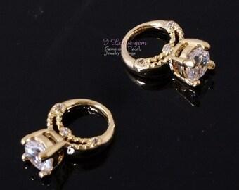 Gold plated, mini Ring pendant, 2pcs