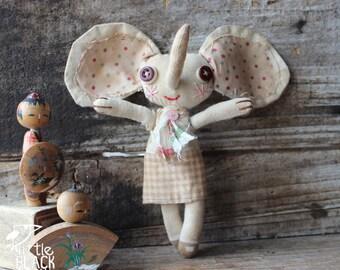 Primitive cloth doll, Mel the elephant