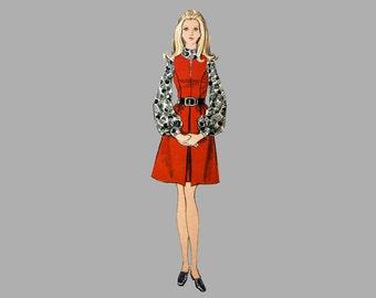 1960s One-Piece Jumper or Dress Pattern, Vogue 7731, Bust 34, Jewel neckline with slit, Front inverted skirt pleat, princess seam bodice