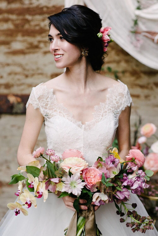 Chantilly Spitze Braut Mieder Top mit Puffärmeln die