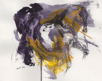 Original Acrylic, Ink and Pen Painting of a Horse in Motion, Modern Art, Expressive Animal Art, Dressage Horse