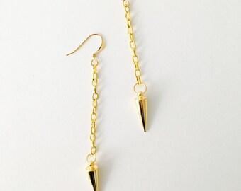 Golden Spike Dangle Earrings