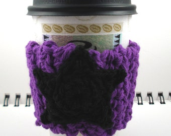 SALE - Grape with Black Star Crocheted Coffee Cozy (SWG-B03)