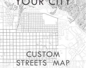 Custom City Lines Map YOUR CITY Map Drawing Black and White (Art Print) Wedding Anniversary Gift Wall Decor