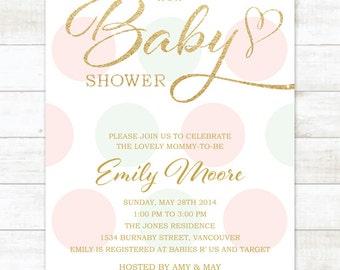 pink mint gold baby girl shower invitation pink mint gold glitter baby shower invite polka dots printable shower digital invite
