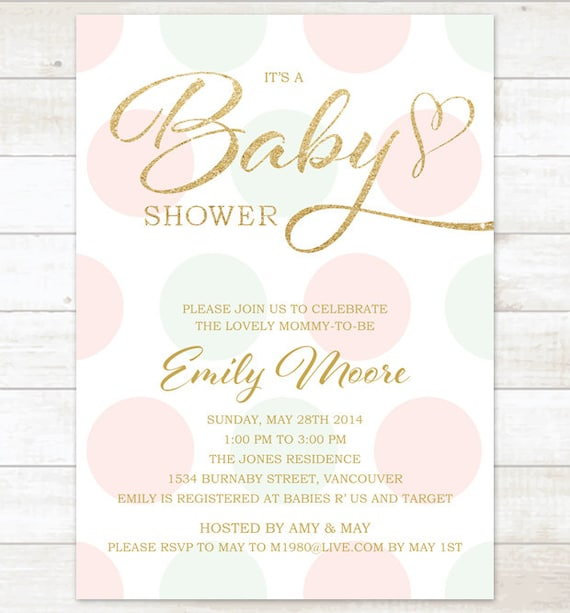 Top pink mint gold baby girl shower invitation pink mint gold VR01