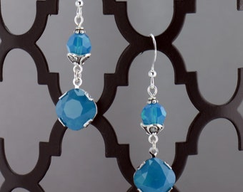Caribbean Blue Dangle Earrings - E2572 - Free Shipping