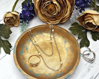Gold Jewelry dish for jewelry, Gold Jewelry holder,  Personalized ring dish, Rustic bedroom rustic decor, Boho jewelry gold ring dish