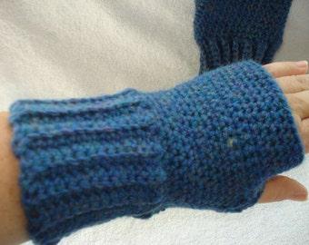 Blue Fingerless Gloves (wrist warmers) FREE SHIPPING