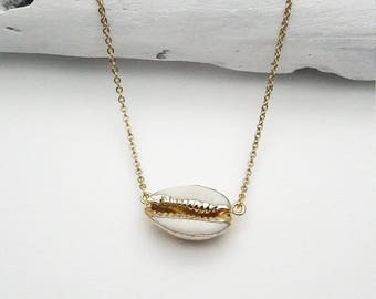 Cowrie real sea shell necklace white and gold 24k plated edges with gold stainless steel chain hypoallergenic