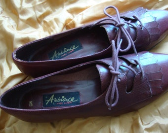 Oxford Shoes Burgundy Leather, Lace Up Shoes, Leather Fringe Shoes, Size 8