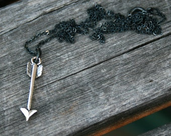 Sterling Silver Plated Necklace - Tribal Arrow