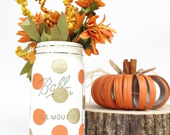 Hand Painted Mason Jar, Fall, Fall Decor, Autumn, Gold, Mason Jars, Housewarming, Hostess, Gift, Country, Kitchen, Farmhouse, Centerpiece