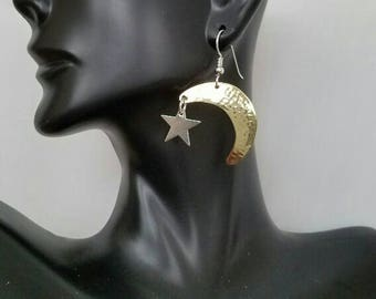 Hammered brass moon and silver stars earrings