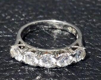 Classic Wedding Ring Anniversary Stack Diamond Replica Vintage CZ Sterling Silver