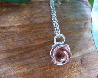 Peony Rose flower pendant: Handmade sterling silver and copper