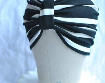 Black and White Striped Turban Hat or Turban/Knotted Headband