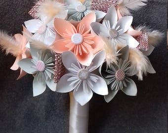 Bridal bouquet, alternative wedding Bouquets, Bouquet of paper flowers, Origami, Wedding Bouquet, wedding flowers, Bouquet