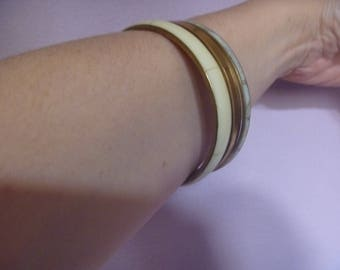 cream and bronze stacking bracelets, vintage stacking bangles