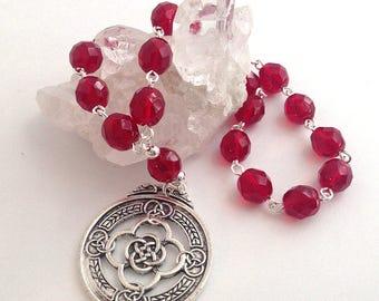 Garnet Glass Celtic Pocket Prayer Beads // Pagan // Wiccan // Brigid