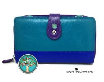 7 plus iPhone wallet, RFID smartphone wallet, blue iPhone wallet, iPhone 7+ case, iPhone 6+ purse, women's wallet, leather iPhone wallet