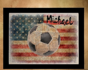 SALE--ship June 25-- Soccer Personalized Dictionary Art Print Football Name Sports Gift for Men Man Cave Gifts For Boys Room Wall Art da685