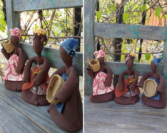"""Beautiful Vintage SET of 3 African Folk Art Burlap Dolls w/Seed Beads, Woven Baskets, & Gorgeous Fabrics, 9"""" Tall ~ Eclectic Home Decor ~"""