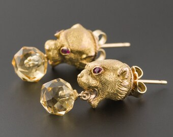 Antique Jaguar Earrings | Antique Conversion Earrings | 14k Gold & Citrine Wild Cat Earrings | Citrine Earrings | 14k Gold Earrings