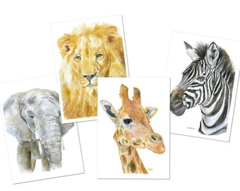 Watercolor African Animal Cards - 5 x 7 - Set of 4 Greeting Cards and Envelopes - Africa Safari Wildlife