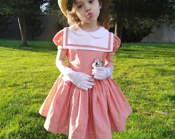 Handmade vintage inspired girls collared dress with separate collar
