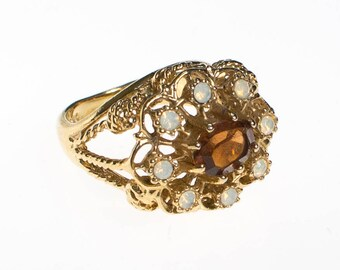 Amber and Opaline Crystal Statement Ring